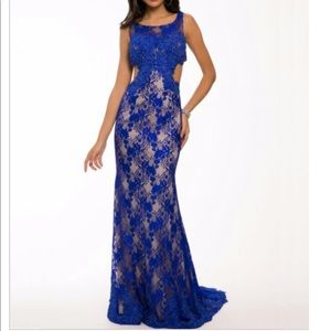 Jovani blue lace prom dress